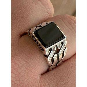 Harlembling 925 Sterling Silver Black Onyx Ring